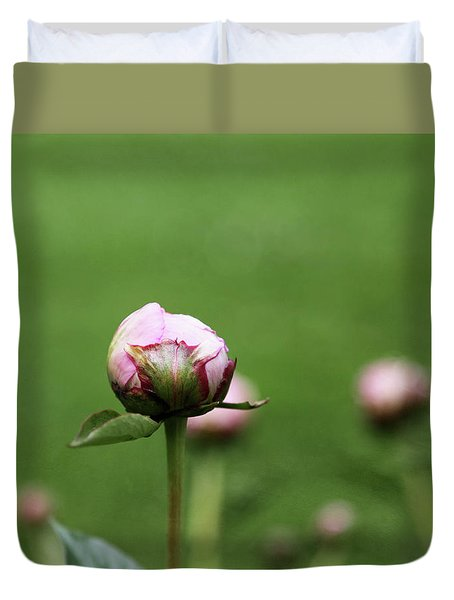 Duvet Cover featuring the photograph Peony Bud On Greenery by Brooke T Ryan