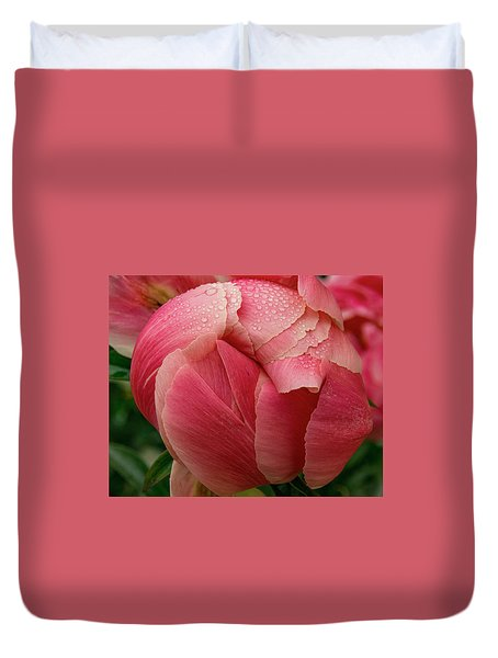 Duvet Cover featuring the photograph Peony Detail by Jean Noren
