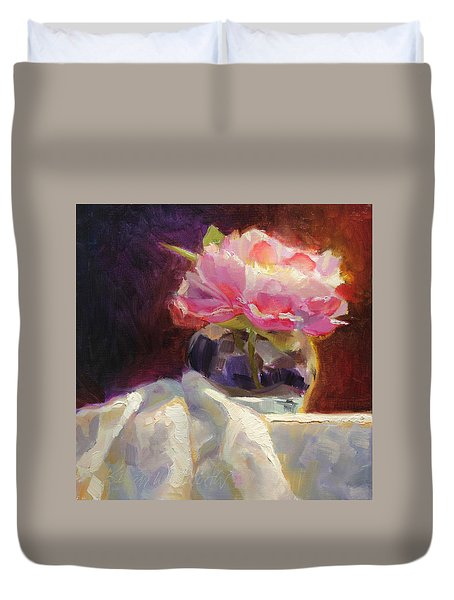 Peony Glow  Colorful And Edgy Still Life Duvet Cover