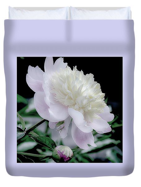 Duvet Cover featuring the photograph Peony In Bloom by Julie Palencia