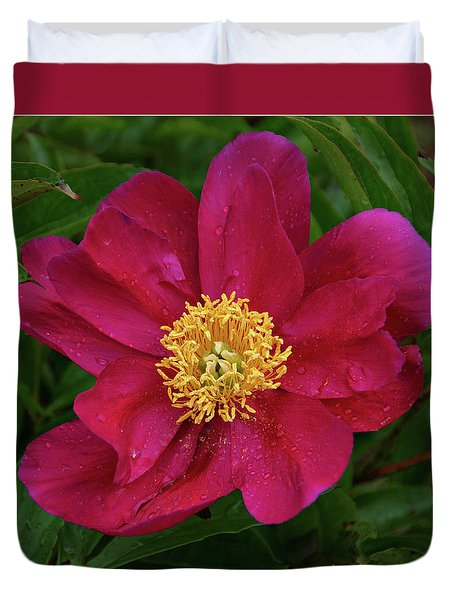 Duvet Cover featuring the photograph Peony In Rain by Sandy Keeton