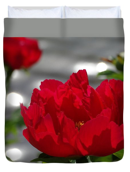 Peony In Red Duvet Cover by Rebecca Overton