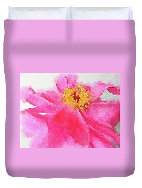 Duvet Cover featuring the digital art Peony by Mark Greenberg