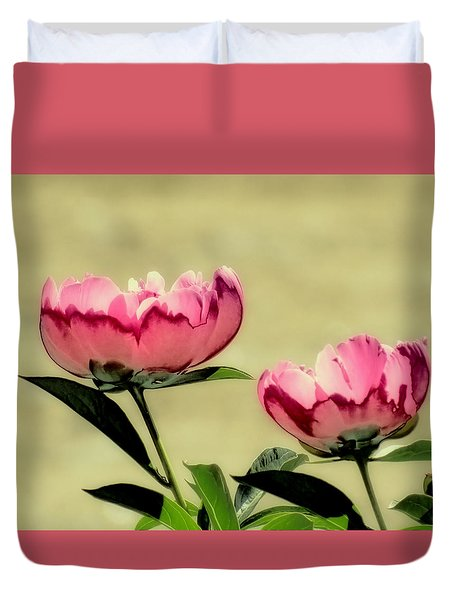 Peony Pair - Enhanced Duvet Cover by MTBobbins Photography