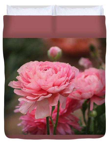 Peony Pink Ranunculus Closeup Duvet Cover