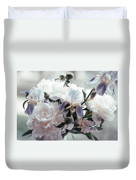 Duvet Cover featuring the photograph Peony Romance by Jenny Rainbow