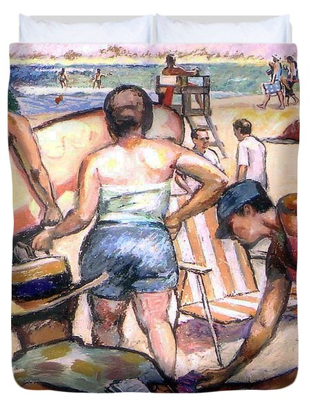 Duvet Cover featuring the painting People On The Beach by Stan Esson