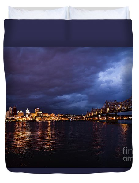 Duvet Cover featuring the photograph Peoria Winter 5pm Blues by Andrea Silies