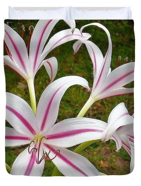 Peppermint Lilies Duvet Cover