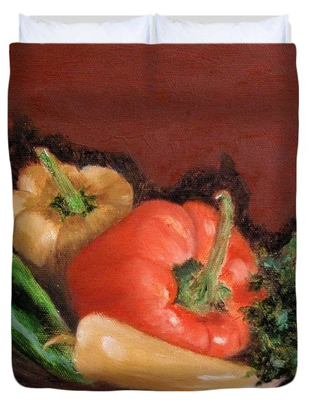 Peppers And Parsley Duvet Cover by Jamie Frier