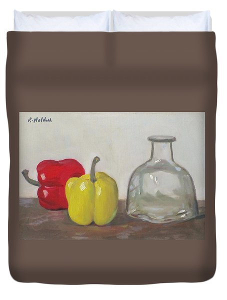 Peppers And Tequila Bottle Duvet Cover