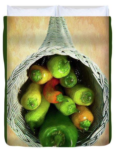 Duvet Cover featuring the painting Peppers In A Horn Of Plenty Basket Ap by Dan Carmichael