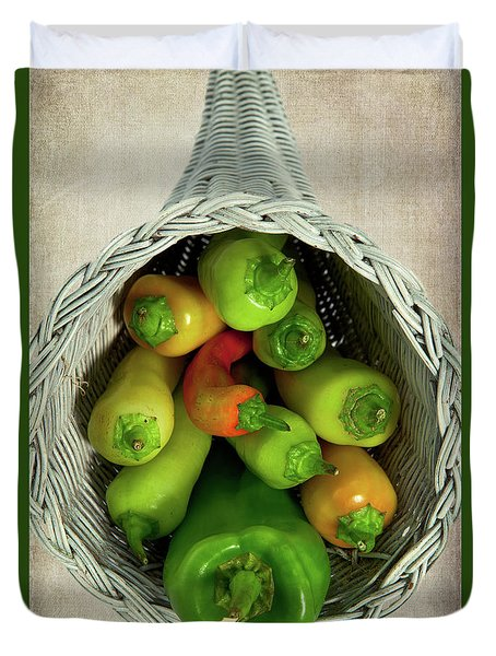Duvet Cover featuring the photograph Peppers In A Horn Of Plenty Basket by Dan Carmichael