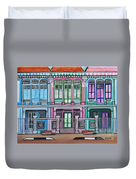 Peranakan Mansion Singapore Duvet Cover