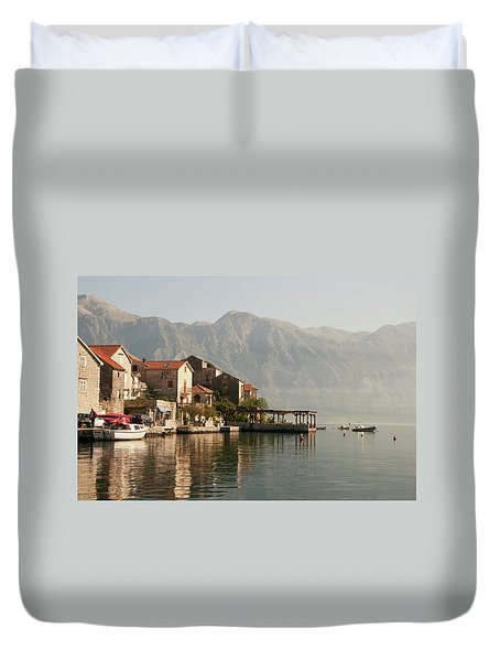 Perast Restaurant Duvet Cover by Phyllis Peterson