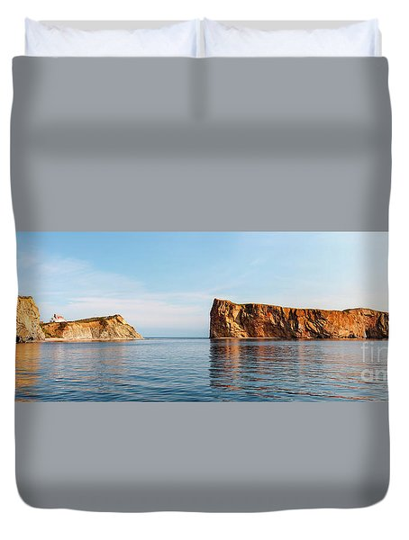 Duvet Cover featuring the photograph Perce Rock At Gaspe Peninsula by Elena Elisseeva