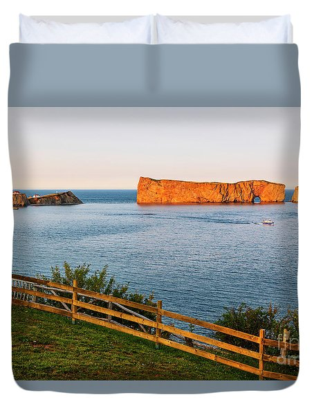 Duvet Cover featuring the photograph Perce Rock At Sunset by Elena Elisseeva