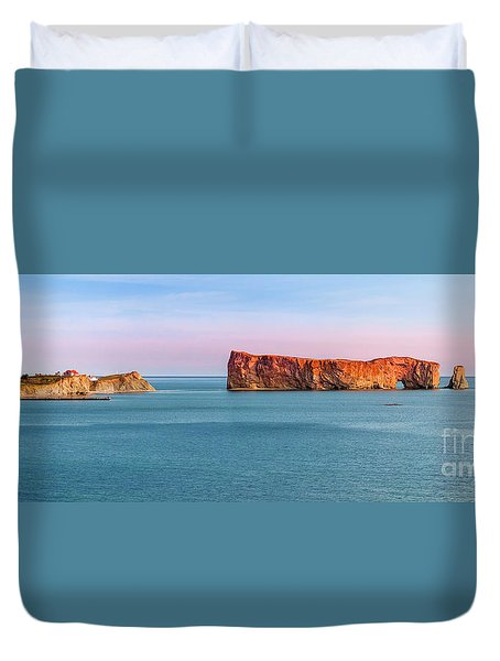 Duvet Cover featuring the photograph Perce Rock Panorama At Sunset by Elena Elisseeva