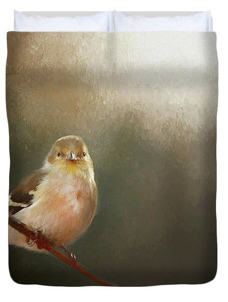 Duvet Cover featuring the photograph Perched Goldfinch by Darren Fisher