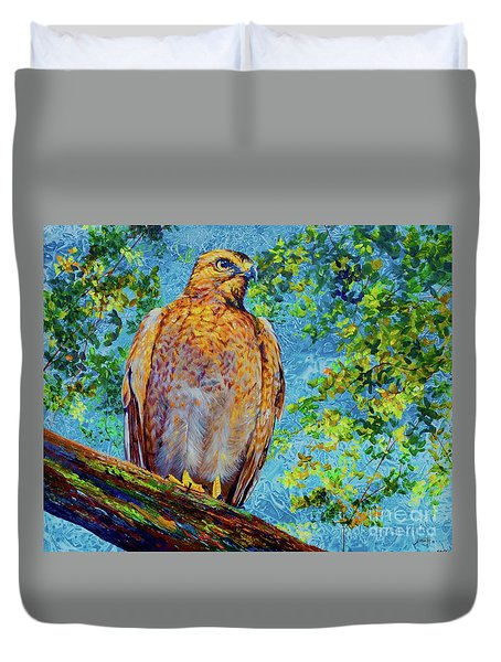 Perched Hawk Duvet Cover by AnnaJo Vahle