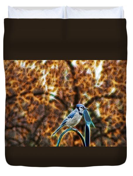 Perched Jay Duvet Cover