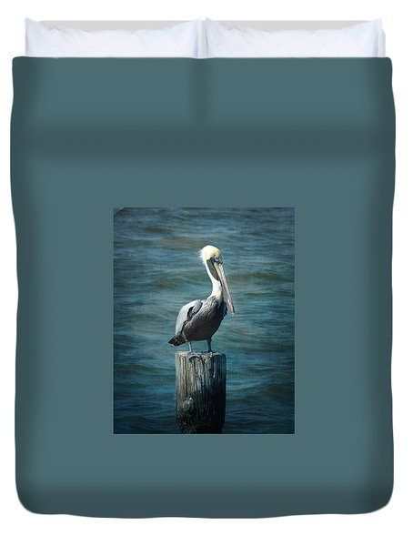 Perched Pelican Duvet Cover