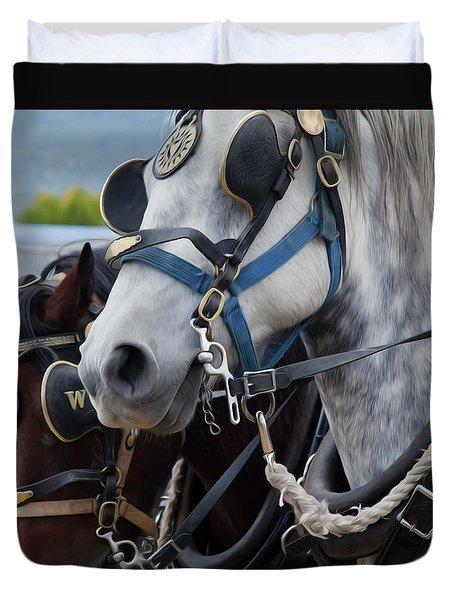 Percheron Horses Duvet Cover by Theresa Tahara