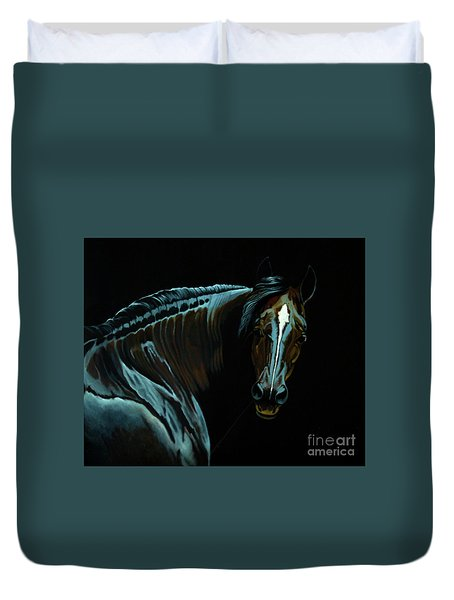 Percheron Mare In The Moonlight Duvet Cover