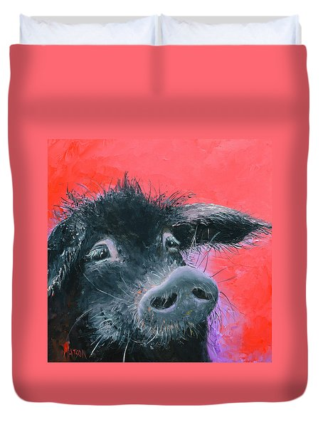 Percival The Black Pig Duvet Cover