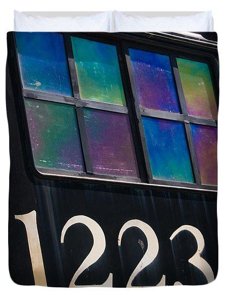 Pere Marquette Locomotive 1223 Duvet Cover by Adam Romanowicz