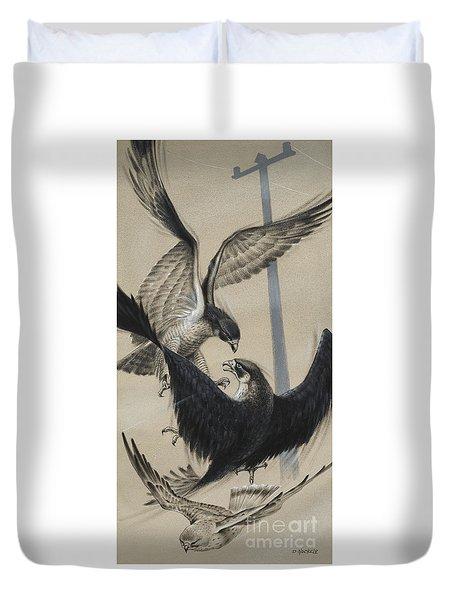 Peregrine Falcon And Kestrel Duvet Cover