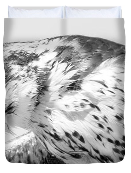 Peregrine Falcon In Black And White Duvet Cover