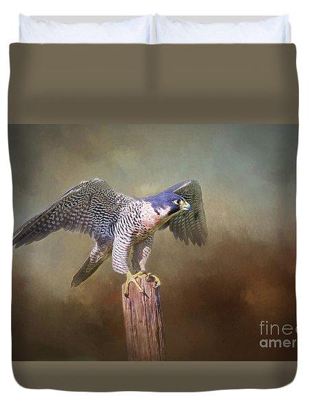 Peregrine Falcon Taking Flight Duvet Cover