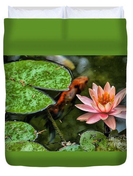Perfect Beauty And Koi Companion Duvet Cover by Diana Mary Sharpton