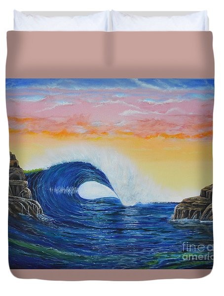 Duvet Cover featuring the painting Perfect Curl by Mary Scott