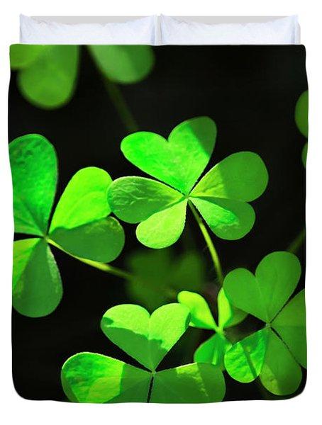 Perfect Green Shamrock Clovers Duvet Cover