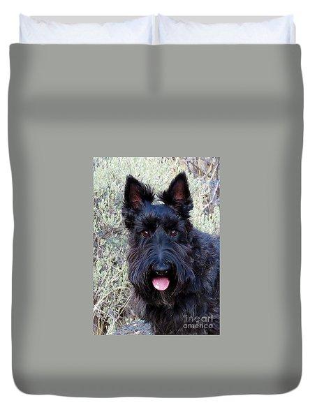 Scottish Terrier Portrait Duvet Cover