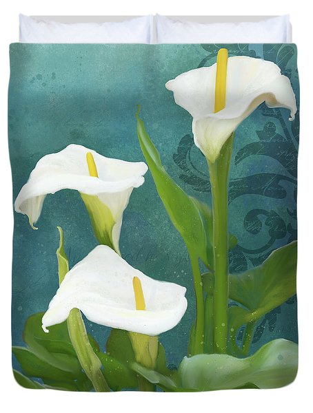 Duvet Cover featuring the painting Perfection - Calla Lily Trio by Audrey Jeanne Roberts