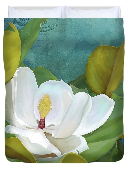Duvet Cover featuring the painting Perfection - Magnolia Blossom Floral by Audrey Jeanne Roberts