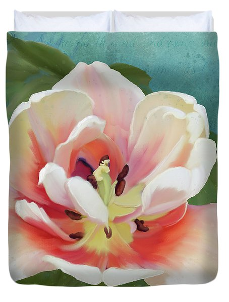 Duvet Cover featuring the painting Perfection - Single Tulip Blossom by Audrey Jeanne Roberts