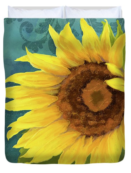 Duvet Cover featuring the painting Perfection - Russian Mammoth Sunflower by Audrey Jeanne Roberts