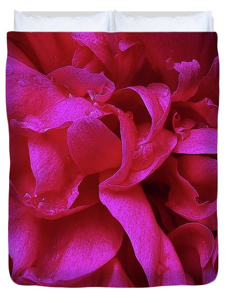 Perfectly Pink Peony Petals Duvet Cover