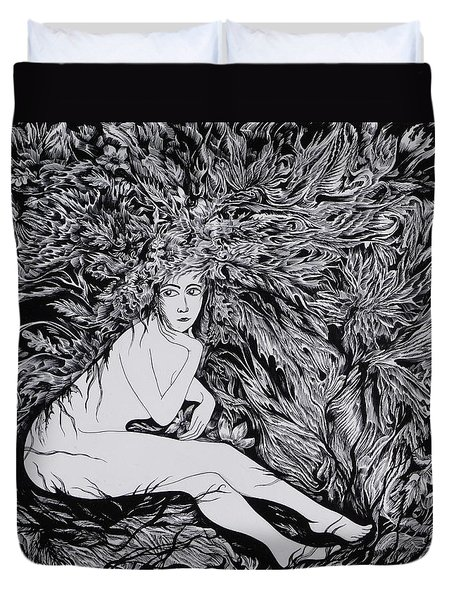 Duvet Cover featuring the drawing Performance Of Autumn by Anna  Duyunova