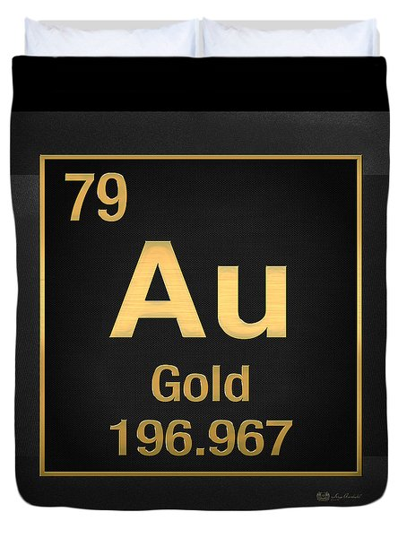 Periodic Table - Gold On Black Duvet Cover
