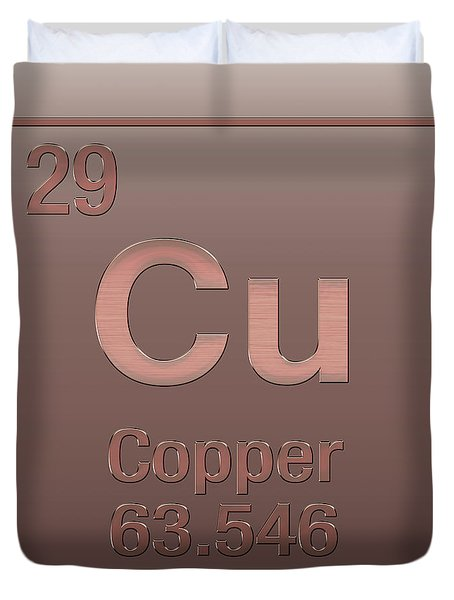 Periodic Table Of Elements - Copper - Cu - Copper On Copper Duvet Cover