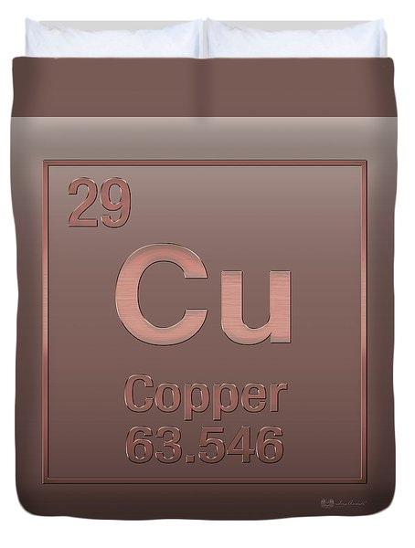 Periodic Table Of Elements - Copper - Cu - Copper On Copper Duvet Cover