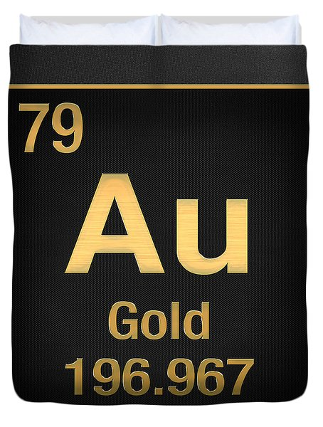 Periodic Table Of Elements - Gold - Au - Gold On Black Duvet Cover