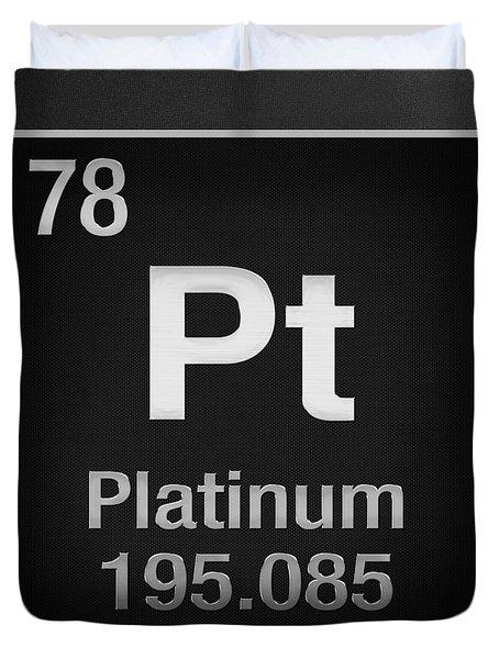 Periodic Table Of Elements - Platinum - Pt - Platinum On Black Duvet Cover
