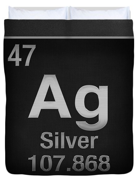 Periodic Table Of Elements - Silver - Ag - Silver On Black Duvet Cover