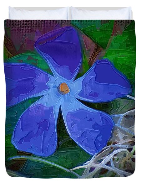 Duvet Cover featuring the digital art Periwinkle Blue by Donna Bentley